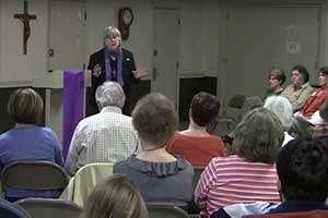 Terry Modica teaching Catholic faith-builders
